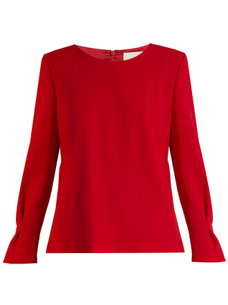 blouse wool red top