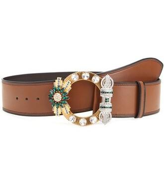 embellished belt leather brown
