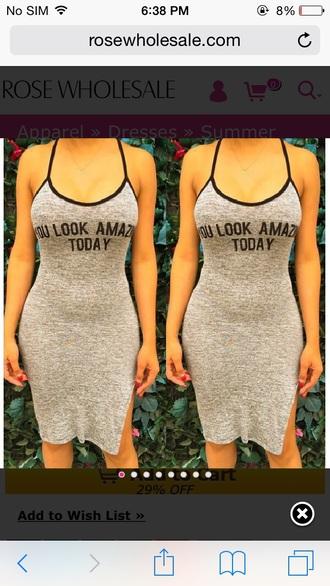 quote on it grey dress slit dress bodycon dress