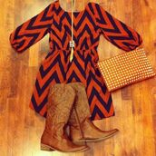dress,boots,necklace,clutch,orange,blue,chevron,cowboy boots,scoop neck,elastic waist,shoes