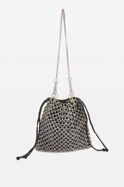 Topshop drawstring bag shoulder bag black