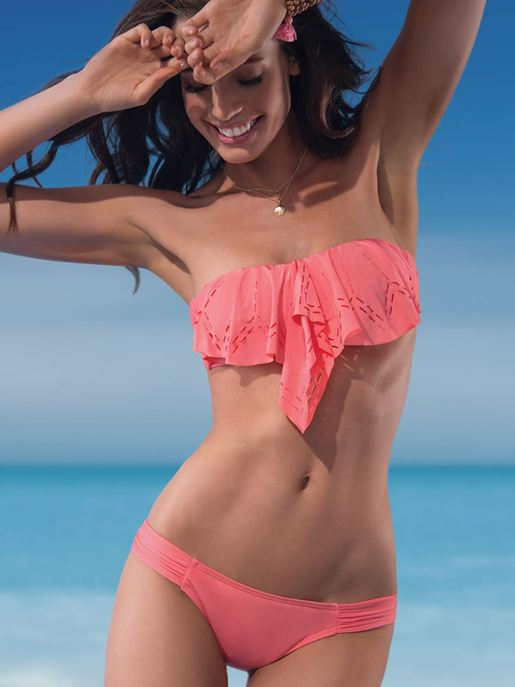 Free Shipping Sexy Women's Bikini Set Pink Ruffled Trim Bandeau Top with Panty Bikini Swimwear Dear Lover LC40608-inBikinis Set from Apparel & Accessories on Aliexpress.com