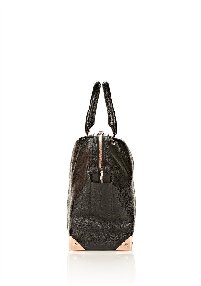 Black Large Emile In Pebbled Black With Rose Gold - Alexander Wang