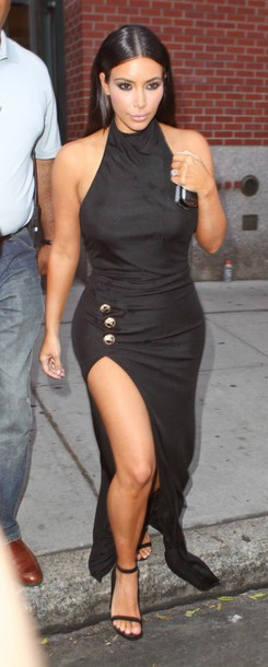 Dress: kim kardashian- black dress- black and white- black heels ...