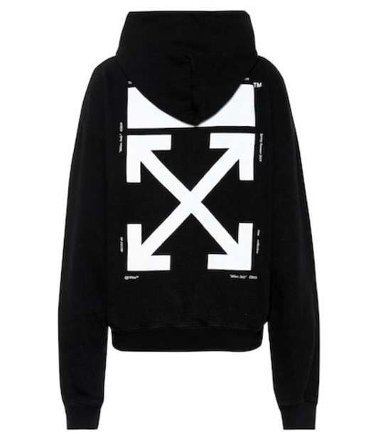Off-White Printed cotton hoodie in black