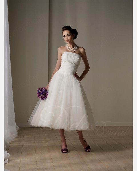 Tea-length Strapless Wedding Dresses | A-line Strapless Tea-length Tulle Little White Dress - Didobridal