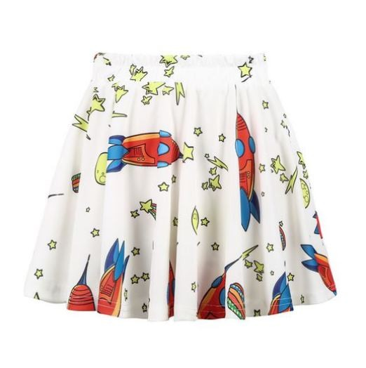 Rocket and Stars Print Pleated Skirt
