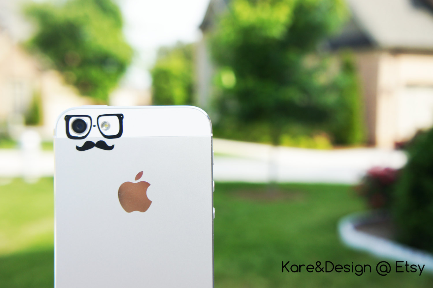 Hipster (glasses & mustache) iphone 5/5c vinyl decal for camera eyes
