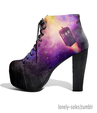 shoes tardis galaxy print platform shoes platform high heels black purple heels doctor who doctor doctor who shoes platform lace up boots