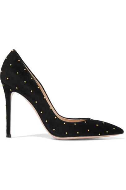 suede pumps studded pumps suede black shoes