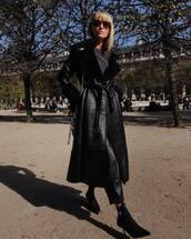 coat,black coat,cropped pants,leather pants,black pants,blouse,sock boots,black boots,shoulder bag,sunglasses