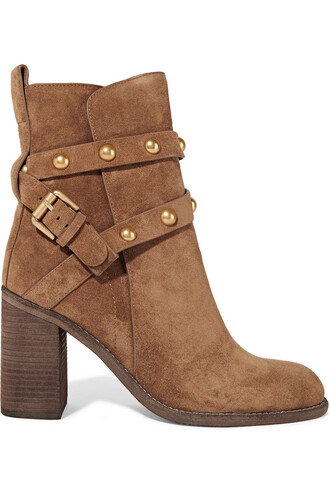 suede ankle boots studded boots ankle boots suede light brown shoes