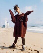 sweater,jaden smith,model,editorial,menswear,oversized sweater,mens sweater,mens shoes,pants