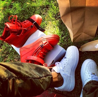 shoes menswear style mens shoes red white nike air force 1 guiseppe zanotti red sneakers