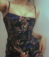 dress,flowers,navy,chinese,asian,floral,tight,straps,thin straps