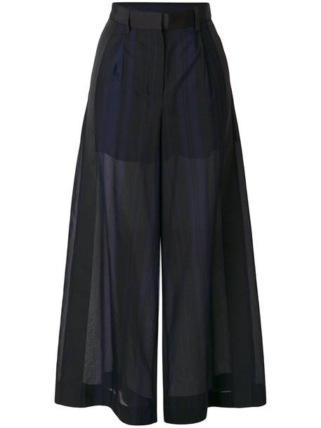 Sacai sheer women cotton black pants