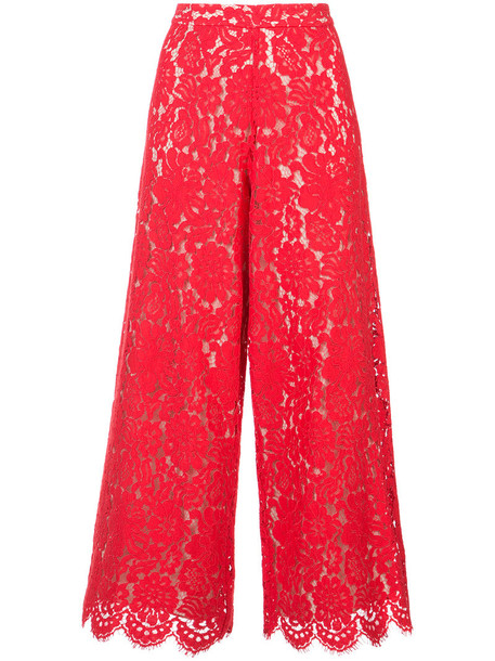 Alice+Olivia culottes women lace cotton red pants