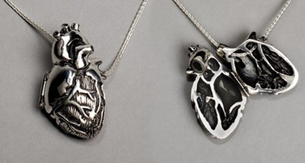 jewels pendant heart silver necklace locket jewelry jewelry chain realistic heart locket hipster heart jewelry science grey silver necklace creepy creepy cute anatomical heart anatomic heart beautiful goth heart jewelry