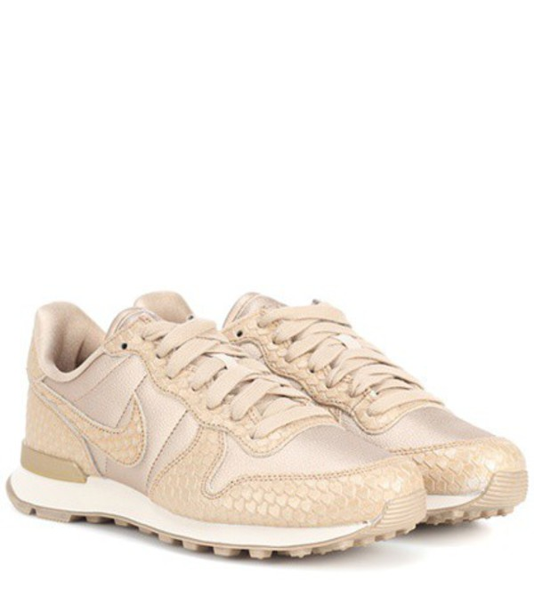sneakers leather gold shoes