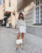 skirt,mini skirt,wrap skirt,wrap ruffle skirt,high waisted skirt,oversized shirt,ankle boots,suede boots,shoulder bag