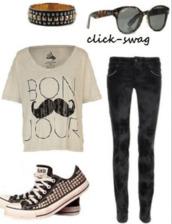 sunglasses,lunette de soleil,bracelets,t-shirt,moustache,noir,noir et blanc,pantalon,converse,allstar,allstars