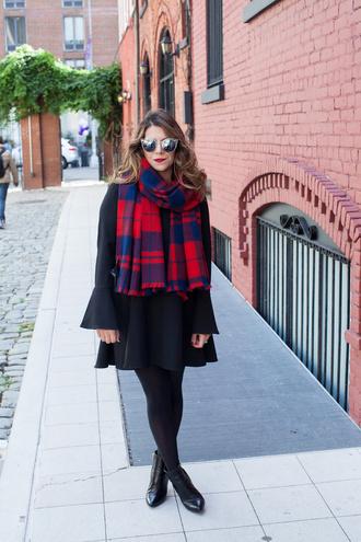 the corporate catwalk blogger tartan scarf black dress