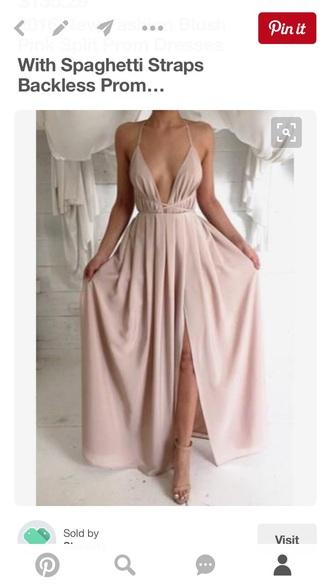 dress blush pink v-neck halter spaghetti straps evening dress backless prom dress side split