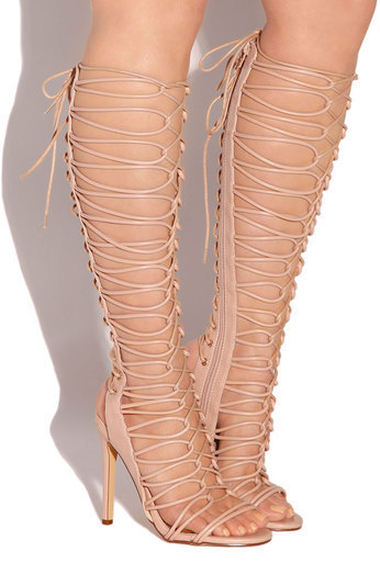 f899f04f7 Nude Beige Lace Up Knee High Gladiator High Heels Tall Strappy Open Toe  Sandals