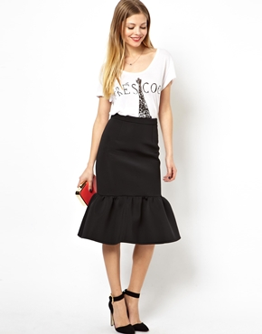 ASOS | ASOS Premium Pencil Skirt in Scuba with Peplum Hem at ASOS