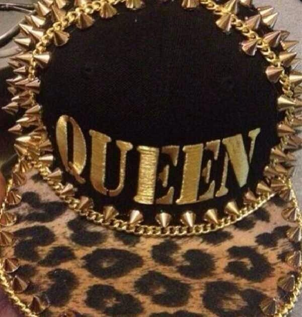 hat leopard print gold studded hat