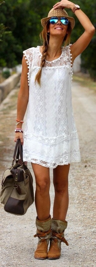 dress lace dress boho dress white dress braid white lace dress
