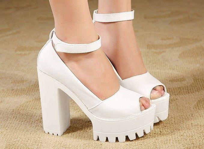 Punk Peep Chunky Heel Platform Velcro Pump Goth Sandals White Size ...
