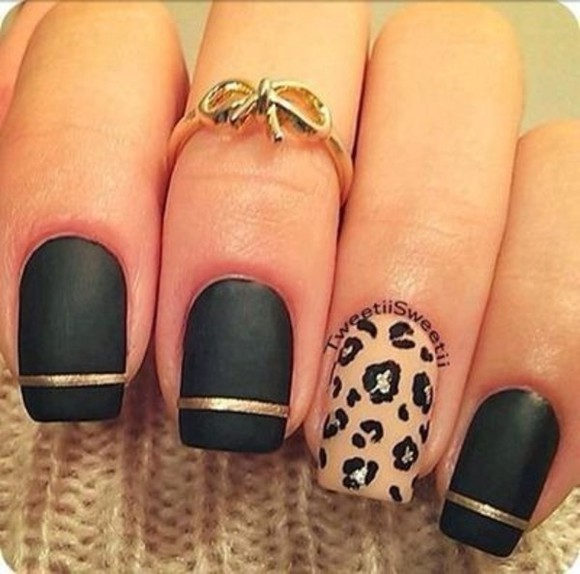 nail polish jewels ring knuckle black gold bows knuckle ring leopard print