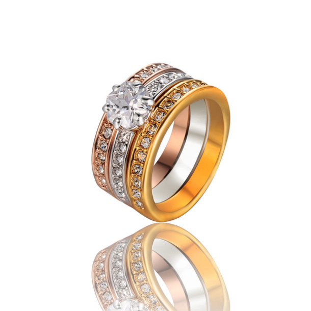 Jewels 3 Color Plated Ring Three In One Rings Wedding Engagement
