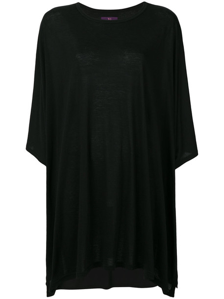 Y's top oversized cropped women cotton black silk