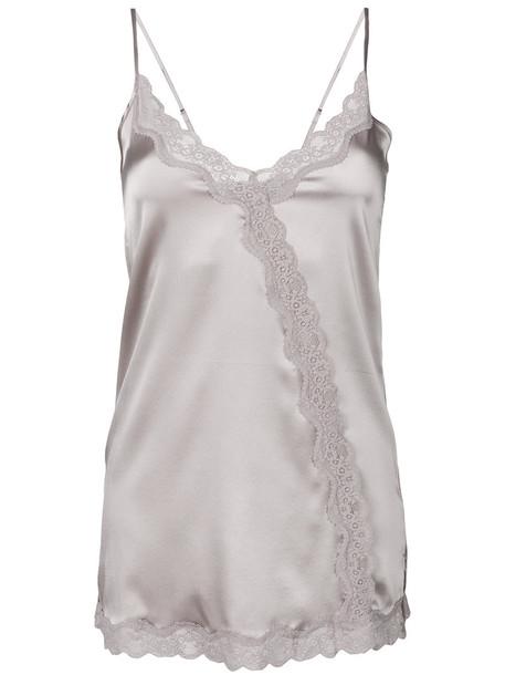 Max & Moi top women spandex lace silk grey