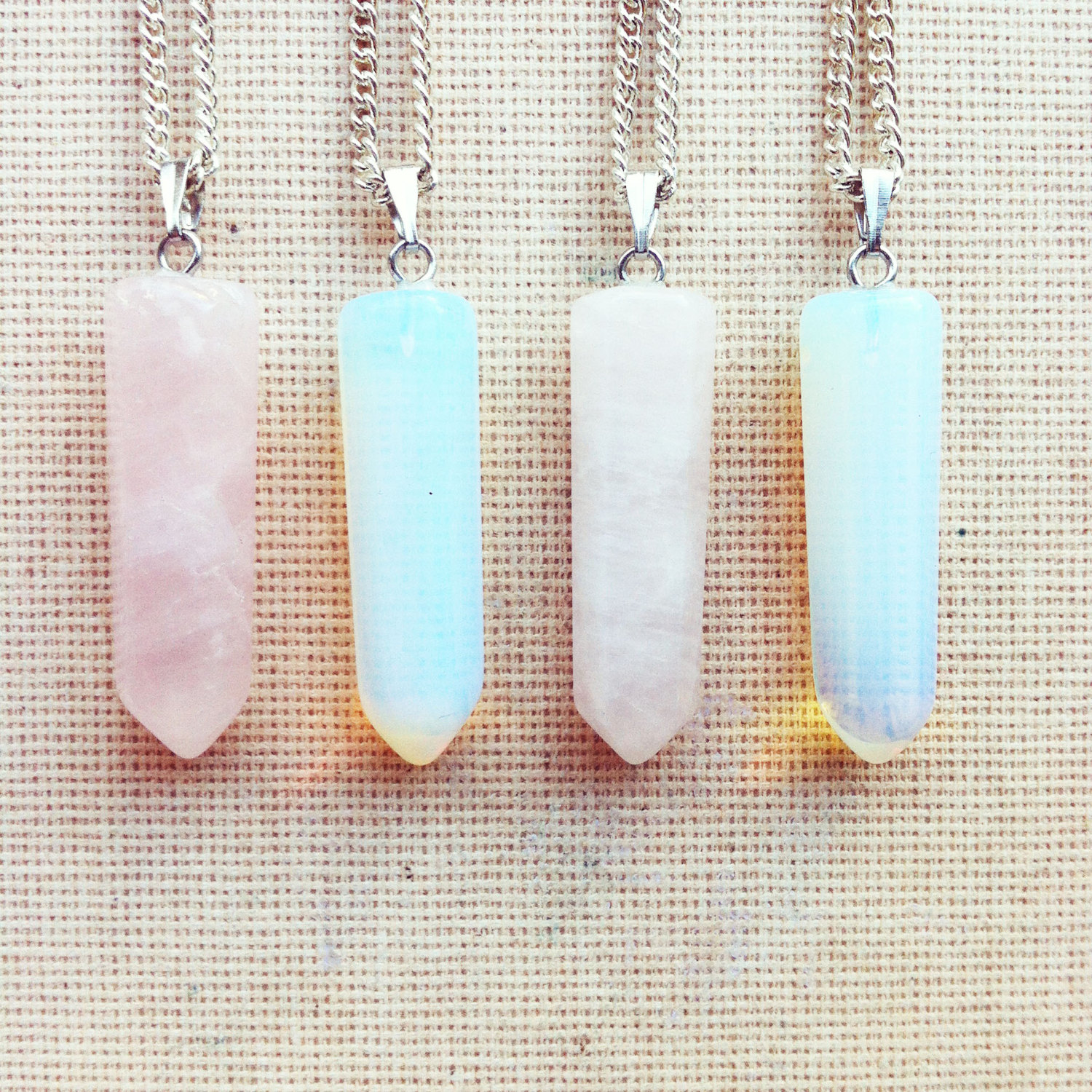 Gemstone Necklace - Point Necklace Moonstone Necklace Pink Quartz Necklace Birthstone Necklace Hexagon Pendant Boho Necklace FREE SHIPPING