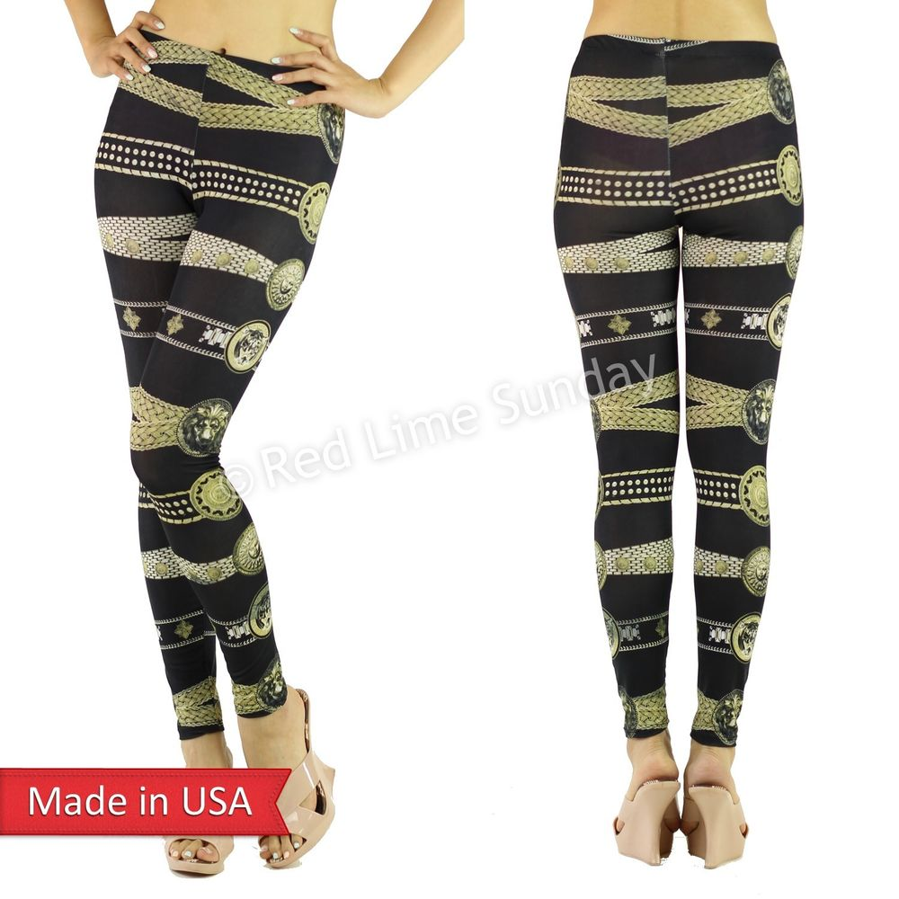 Roman Inspired Animal Sun Face Belt Chain Emblem Print Leggings Tights Pants USA