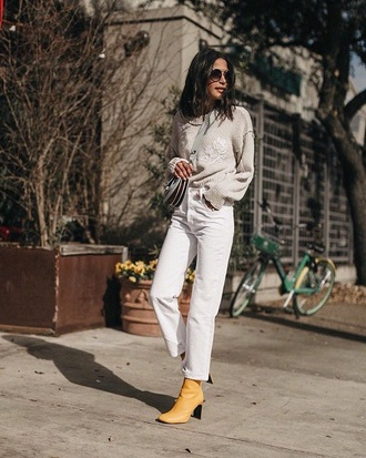 jeans white jeans sweater knit yellow boots sunglasses grey sweater knitted sweater knitwear boots