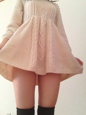 dress,white dress,knitted dress,tumblr,jacquard,long sleeves,crochet,pearl,kitchie,kawaii,cute,socks,black,pastel,winter dress,shorts,wool,cream,perfect,sweet,knit,cable knit,clothes,sweater dress