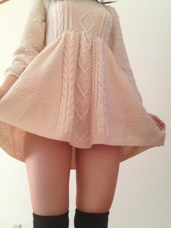 dress white dress knitted dress tumblr jacquard long sleeves crochet pearl kitchie kawaii cute socks black pastel winter dress shorts wool cream perfect sweet knit pearl cable knit clothes sweater dress knitted dress tumblr