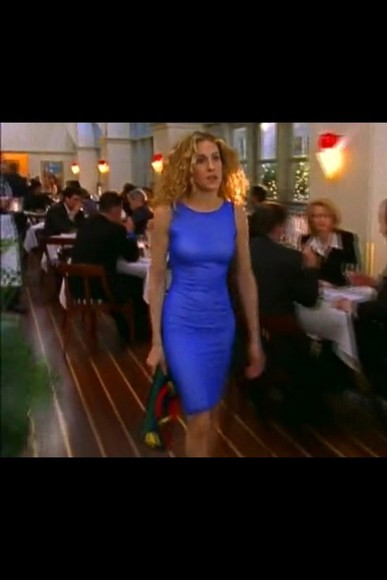 dress sex and the city carrie bradshaw blue dress sarah jessica parker blue tight dress