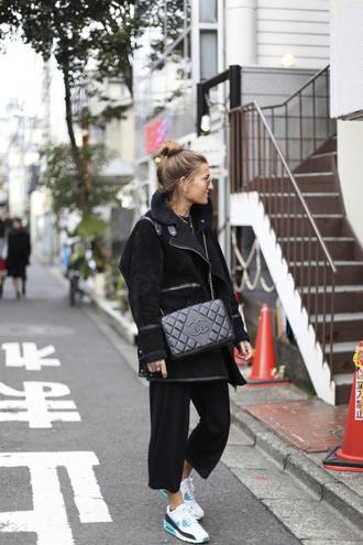 b a r t a b a c blogger coat sweater pants shoes sunglasses bag