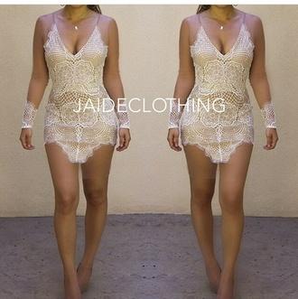 lace dress dress elegant sexy dress sexy cream dress cream lace