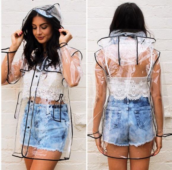 jacket raincoat rain transparency hood see through