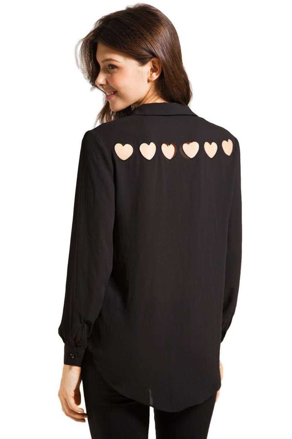 Lookbookstore women chiffon heart cut out back sheer point collar long sleeve shirt blouse top black uk 12: amazon.co.uk: clothing