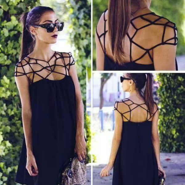 dress black noir spider spider web web araign?e halloween spooky strappy shoulder chest thin string stringy loose dark cool black dress chic french france clothes