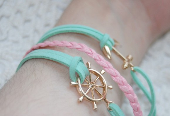 fashion cute girly jewels arm candy bracelet sail anchor braid