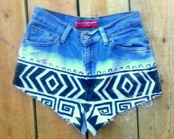 Levis Reconstructed Aztec high waisted shorts by WubbaDubSellz