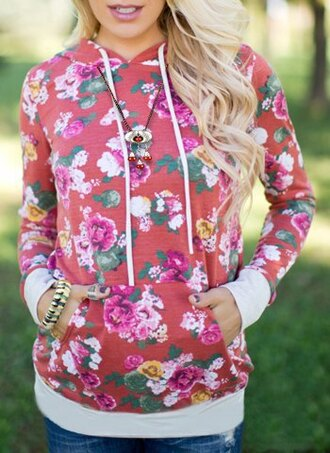 sweater red flowers fall outfits floral fashion style casual cozy hoodie jumper